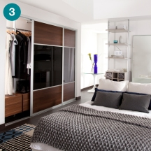 Ellipse reach-in wardrobe for a master bedroom.