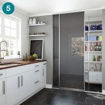 Domalti doors to hide a utility room.