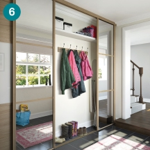 Linear doors to hide hallway clutter.
